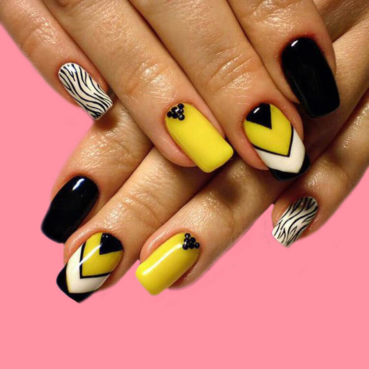 12 Yellow Geometric Nail Design Will Shine Your Summer Trend 2019 10