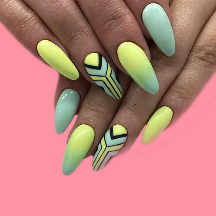 12 Yellow Geometric Nail Design Will Shine Your Summer Trend 2019 12