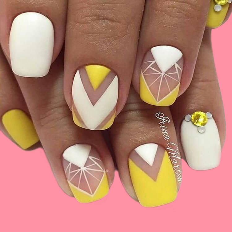 12 Yellow Geometric Nail Design Will Shine Your Summer Trend 2019 2
