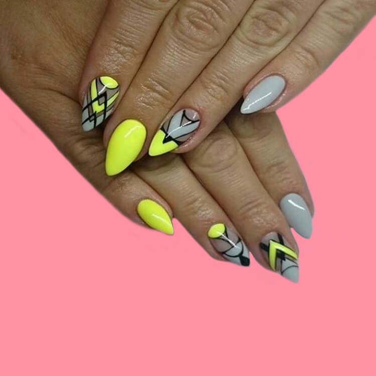 12 Yellow Geometric Nail Design Will Shine Your Summer Trend 2019 3