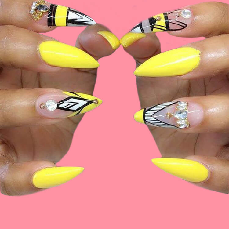 12 Yellow Geometric Nail Design Will Shine Your Summer Trend 2019 4