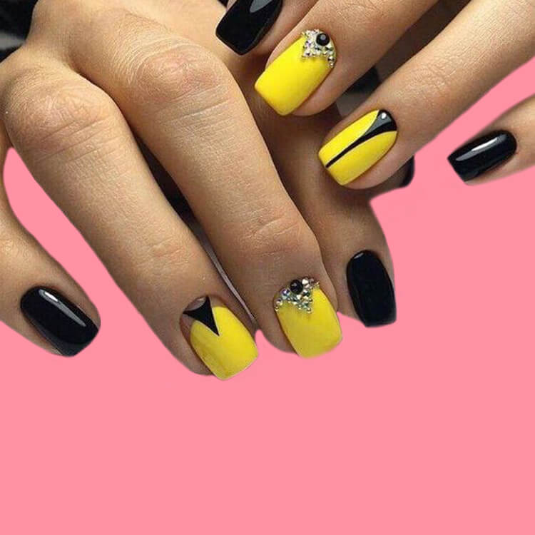 12 Yellow Geometric Nail Design Will Shine Your Summer Trend 2019 5