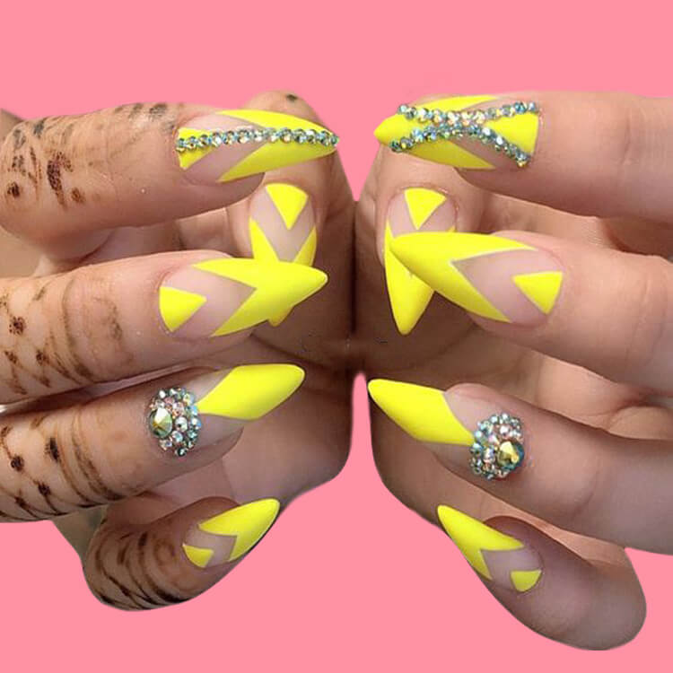 12 Yellow Geometric Nail Design Will Shine Your Summer Trend 2019 6