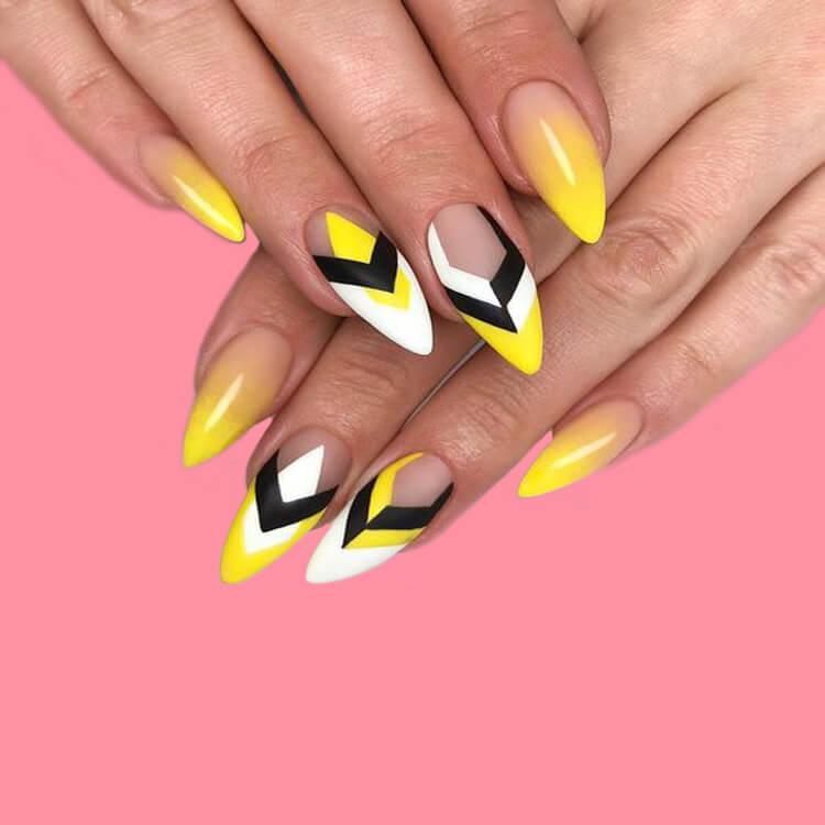 12 Yellow Geometric Nail Design Will Shine Your Summer Trend 2019 8
