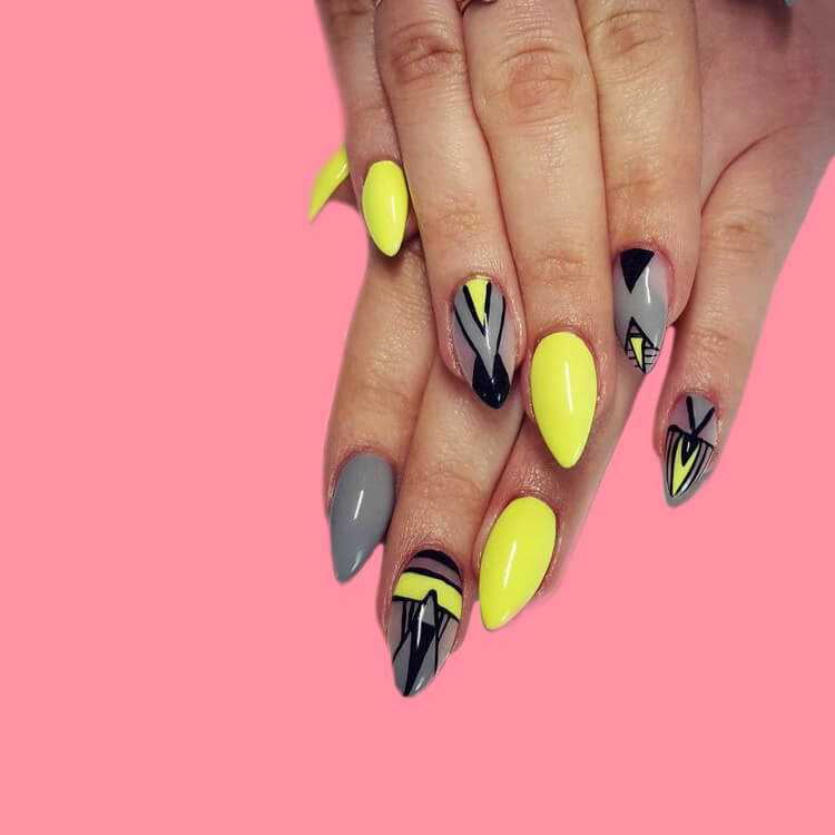 12 Yellow Geometric Nail Design Will Shine Your Summer Trend 2019 9