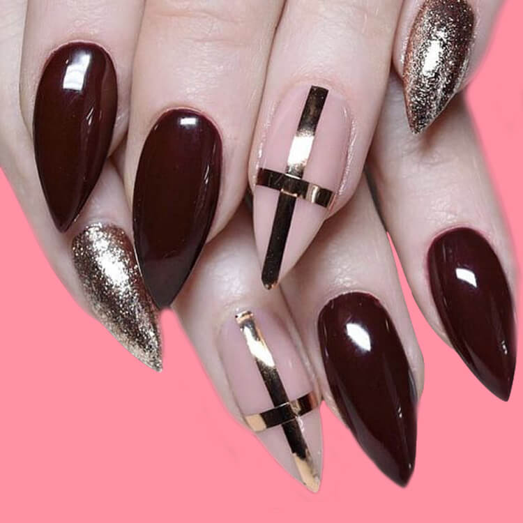 10+ Fantastic Burgundy Stiletto Nails Designs for Ladies 8