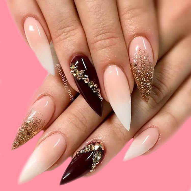 10+ Fantastic Burgundy Stiletto Nails Designs for Ladies 2