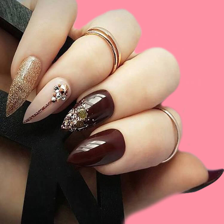 10+ Fantastic Burgundy Stiletto Nails Designs for Ladies 3