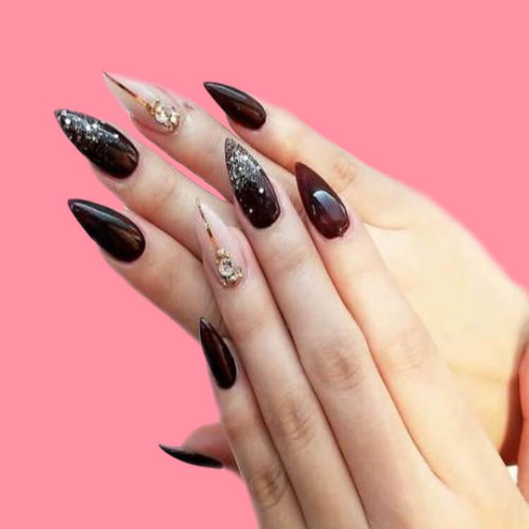 10+ Fantastic Burgundy Stiletto Nails Designs for Ladies 4