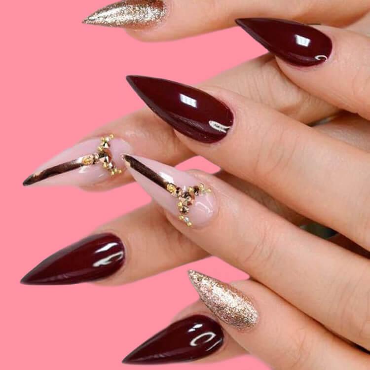 10+ Fantastic Burgundy Stiletto Nails Designs for Ladies 5