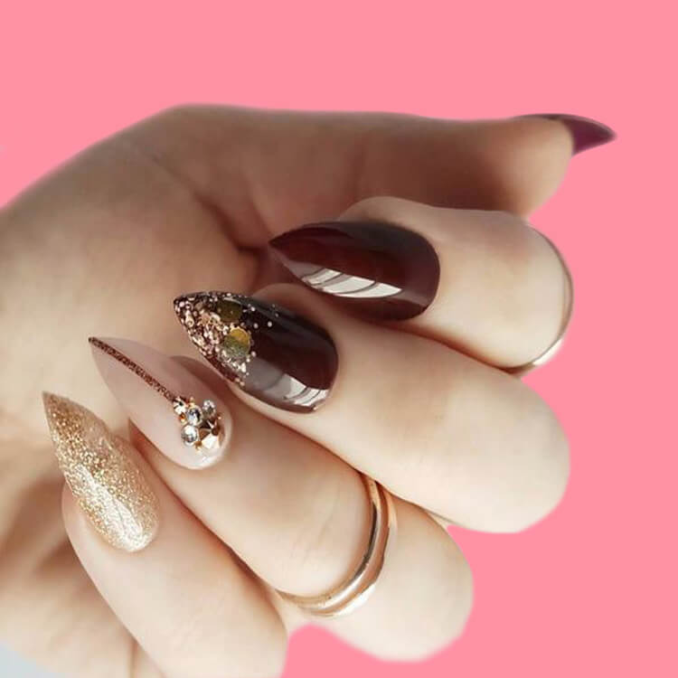 10+ Fantastic Burgundy Stiletto Nails Designs for Ladies 6