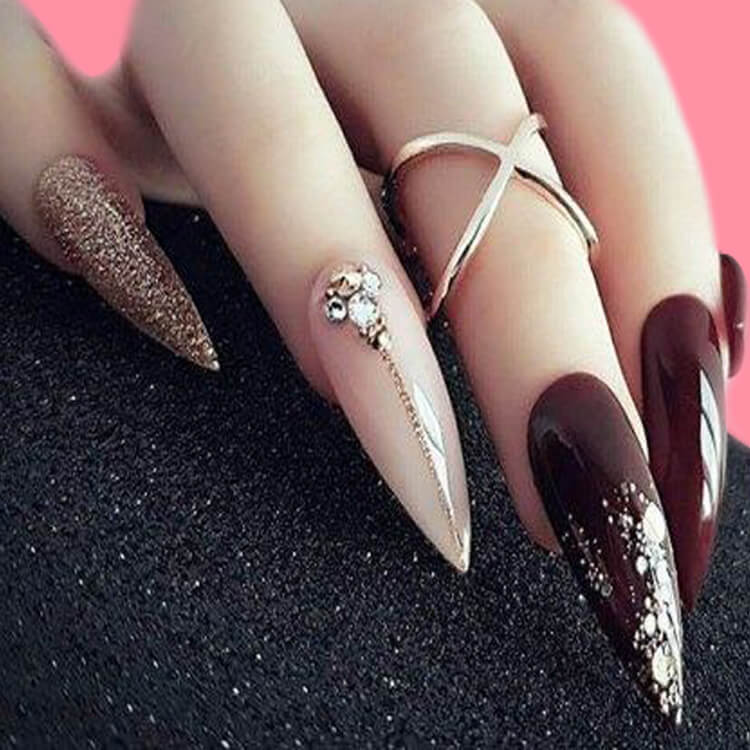 10+ Fantastic Burgundy Stiletto Nails Designs for Ladies 7