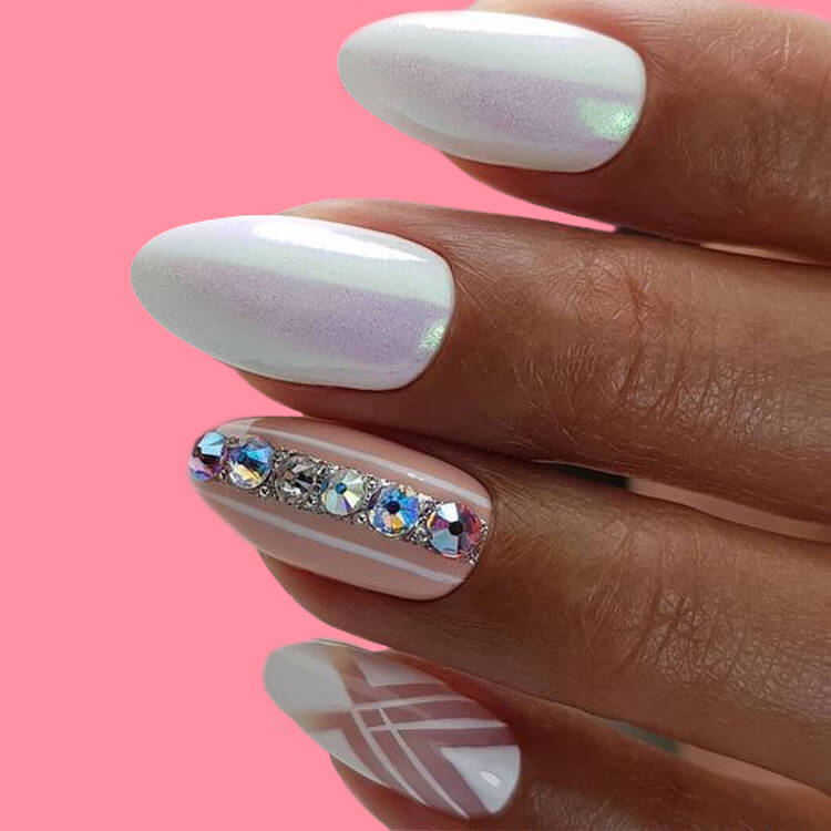 18+ beautiful almond long white marble nails designs with gemstone 1