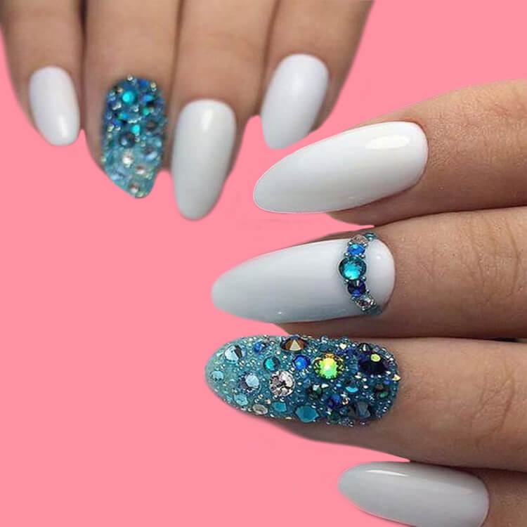 18+ beautiful almond long white marble nails designs with gemstone 2
