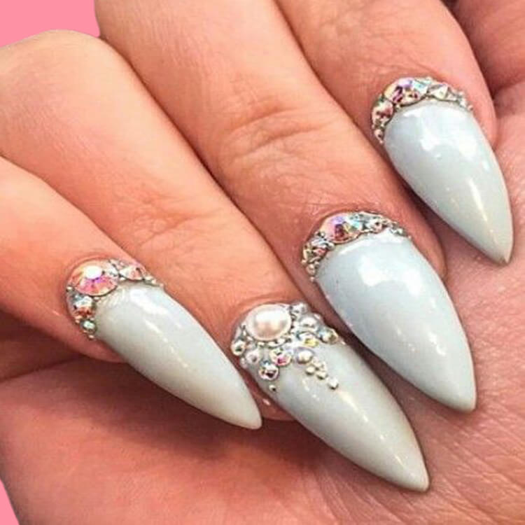 18+ beautiful almond long white marble nails designs with gemstone 3