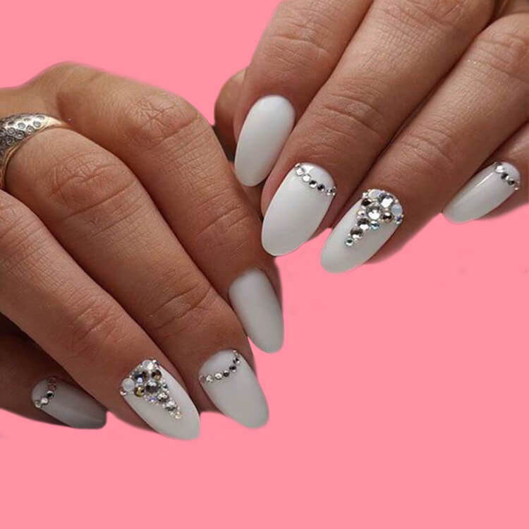 18+ beautiful almond long white marble nails designs with gemstone 4