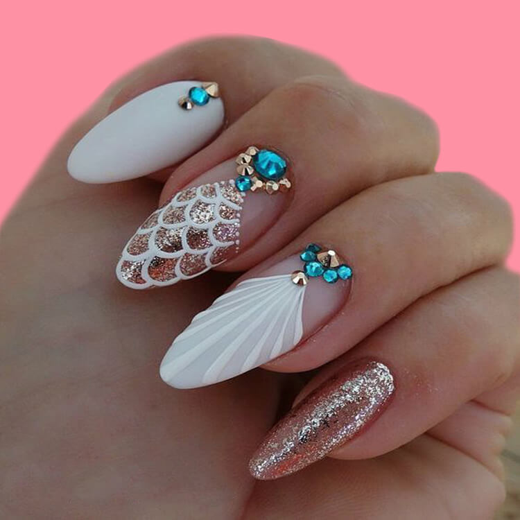 18+ beautiful almond long white marble nails designs with gemstone 5