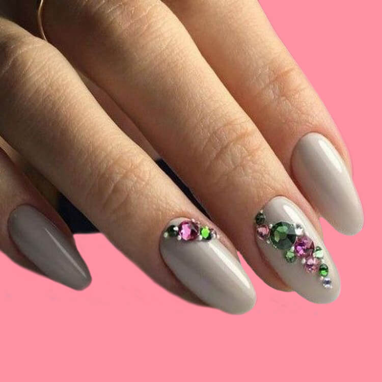 18+ beautiful almond long white marble nails designs with gemstone 6