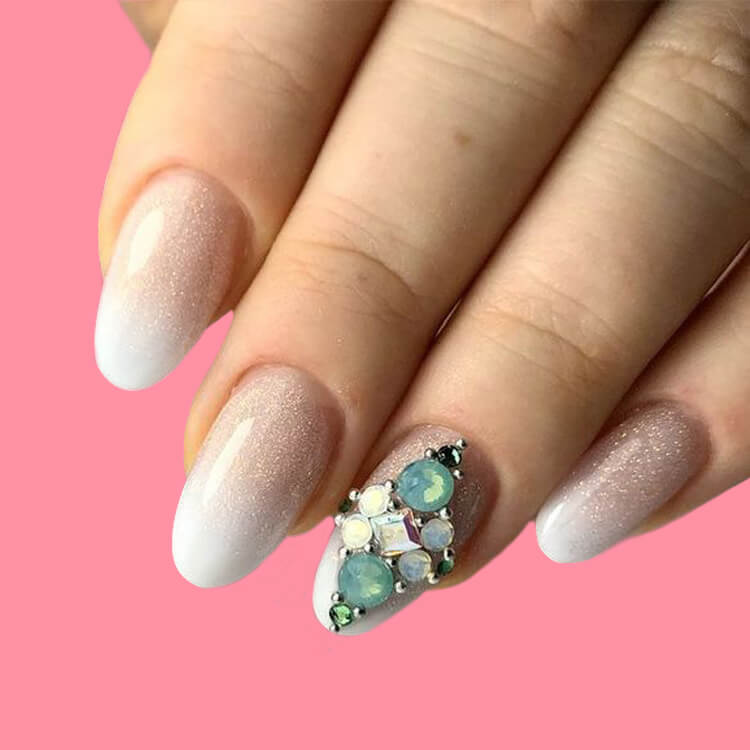 18+ beautiful almond long white marble nails designs with gemstone 7