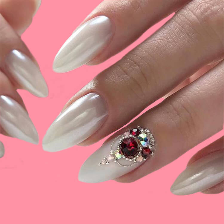 18+ beautiful almond long white marble nails designs with gemstone 8