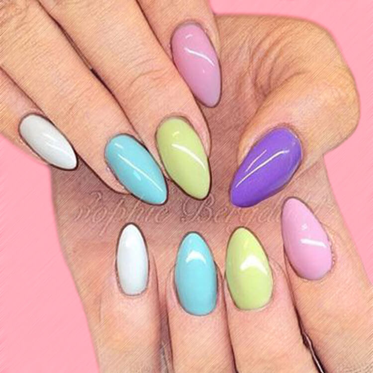 23+ Sweet Candy Color Nail Art Designs for Ladies 1