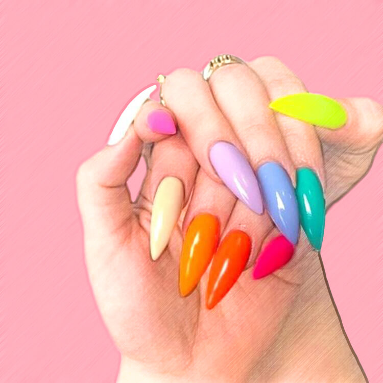 23+ Sweet Candy Color Nail Art Designs for Ladies 10