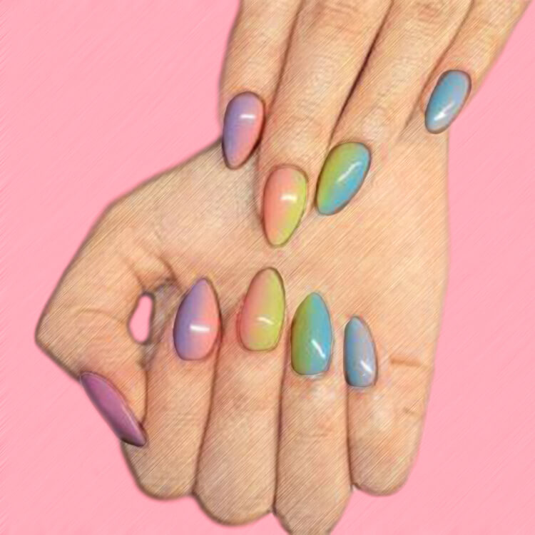 23+ Sweet Candy Color Nail Art Designs for Ladies 11