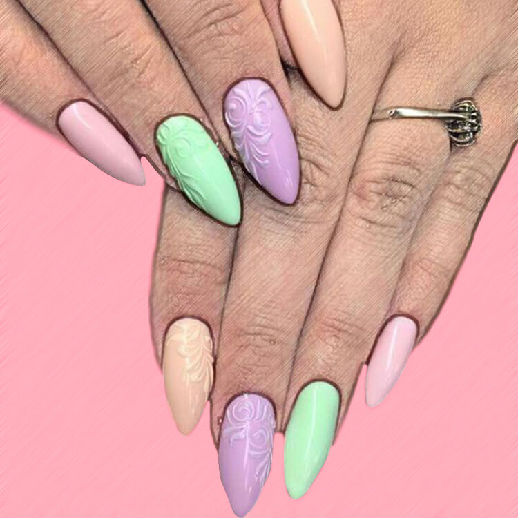 23+ Sweet Candy Color Nail Art Designs for Ladies 13