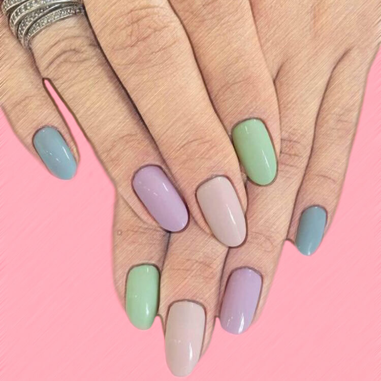23+ Sweet Candy Color Nail Art Designs for Ladies 15