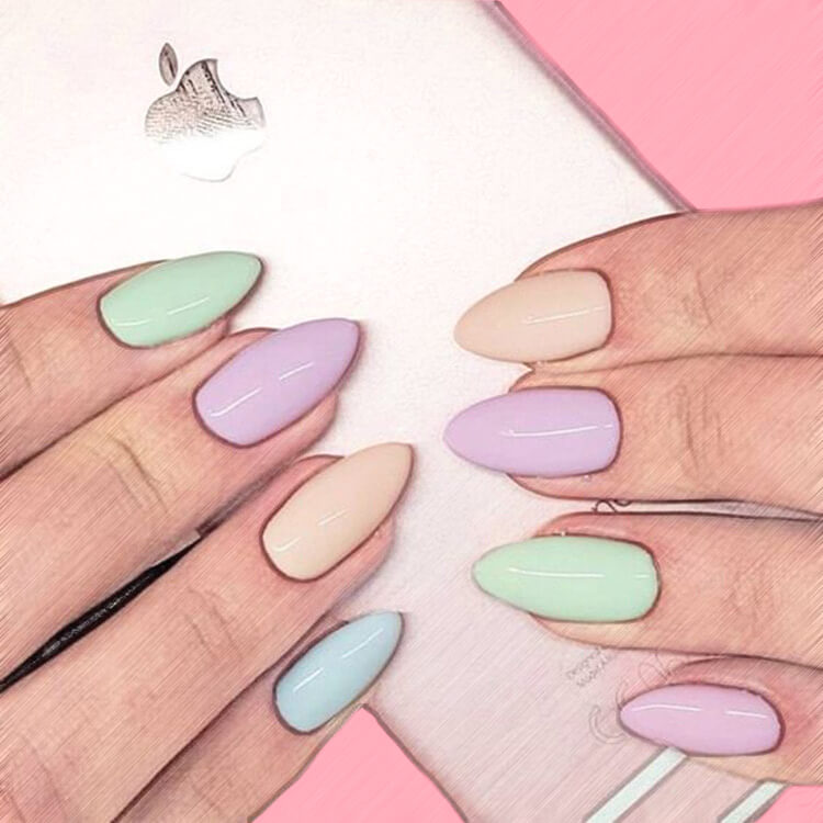 23+ Sweet Candy Color Nail Art Designs for Ladies 17
