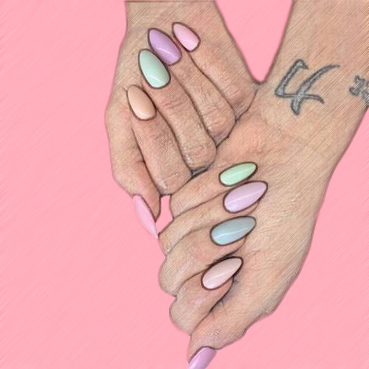 23+ Sweet Candy Color Nail Art Designs for Ladies 20