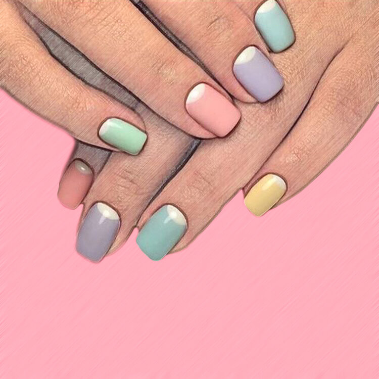 23+ Sweet Candy Color Nail Art Designs for Ladies 22