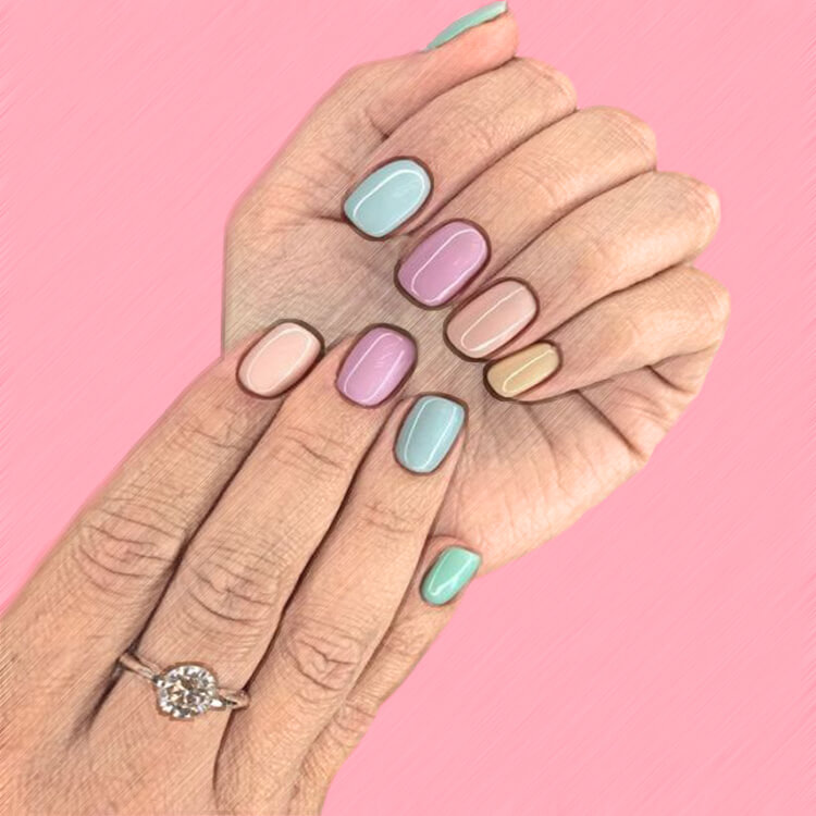 23+ Sweet Candy Color Nail Art Designs for Ladies 3