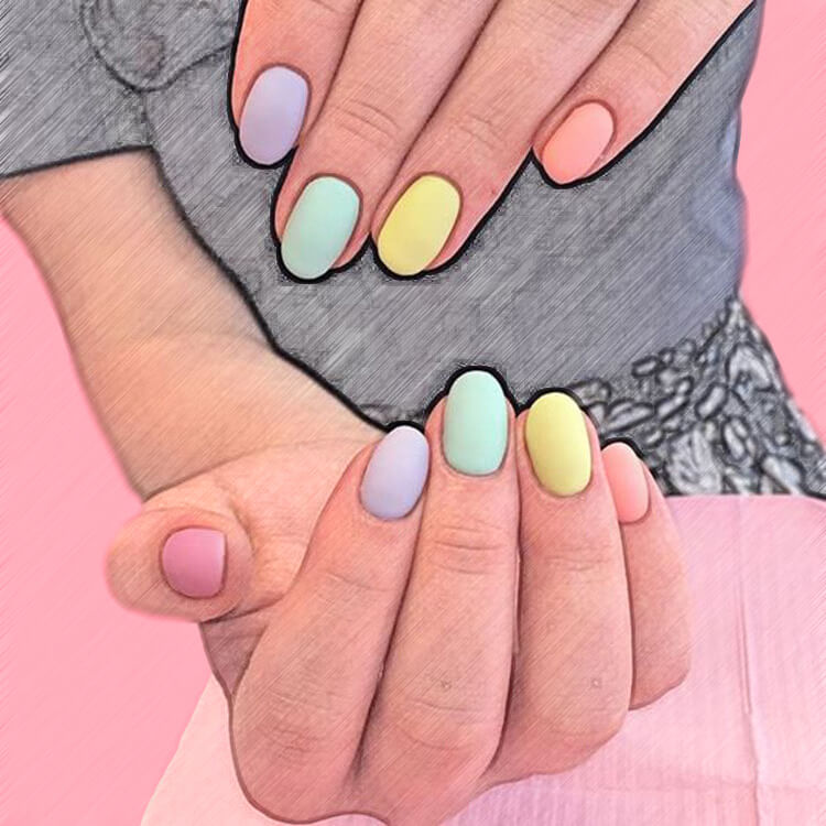 23+ Sweet Candy Color Nail Art Designs for Ladies 5