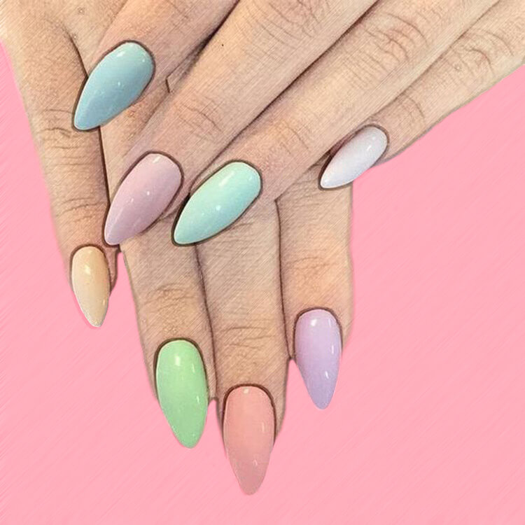 23+ Sweet Candy Color Nail Art Designs for Ladies 6