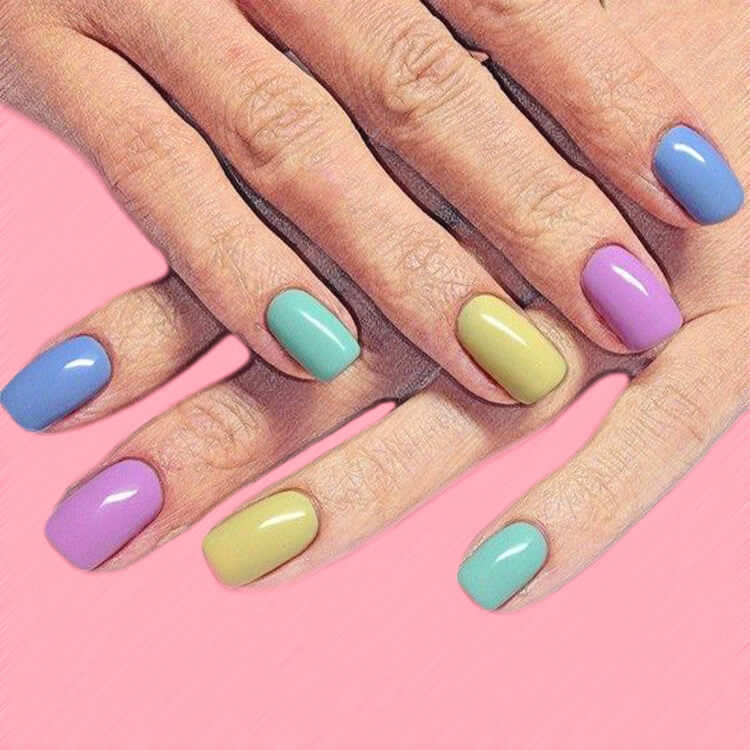 23+ Sweet Candy Color Nail Art Designs for Ladies 7