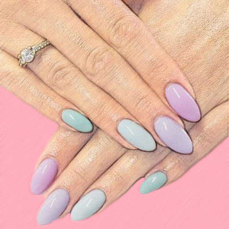23+ Sweet Candy Color Nail Art Designs for Ladies 8