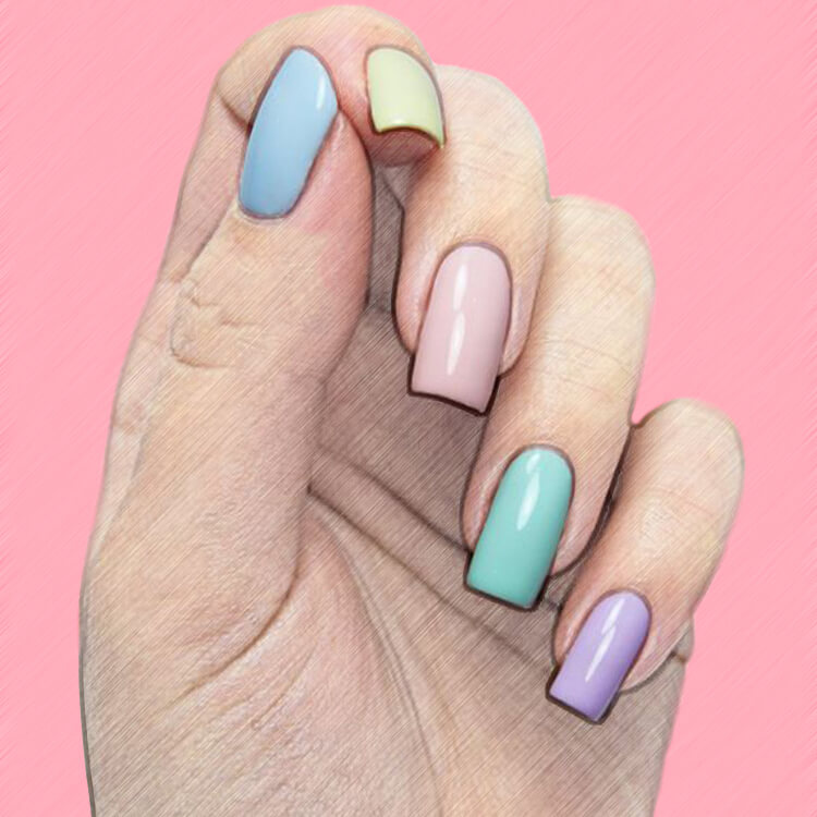 23+ Sweet Candy Color Nail Art Designs for Ladies 9
