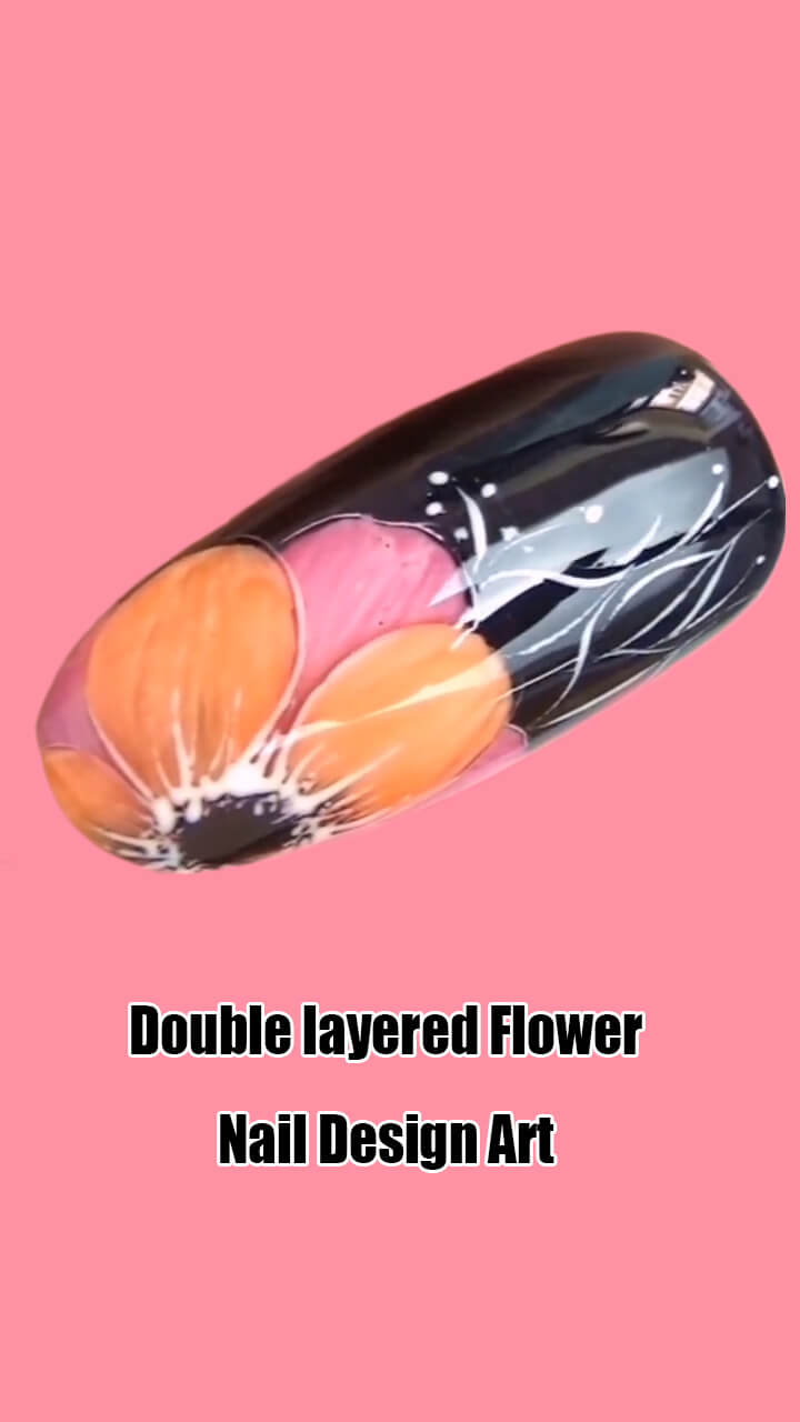 10 Step by Step Double Layered Flower Nail Art Ideas 5