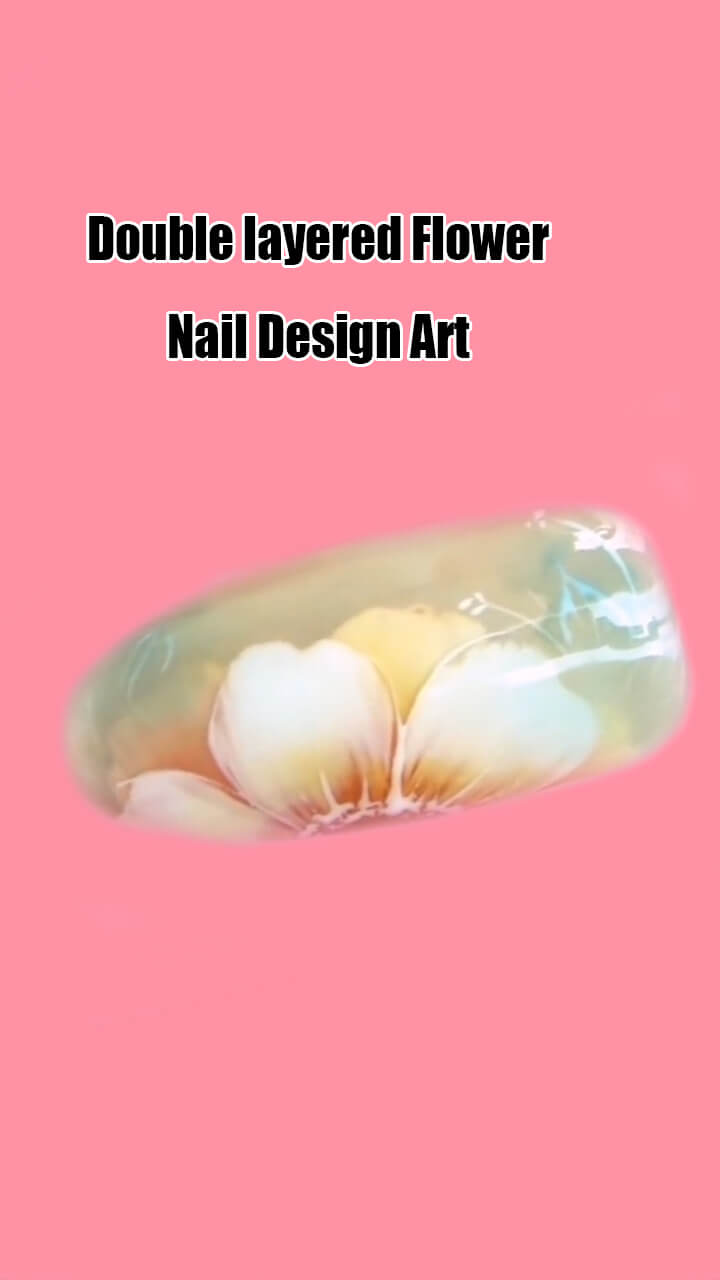 10 Step by Step Double Layered Flower Nail Art Ideas 6
