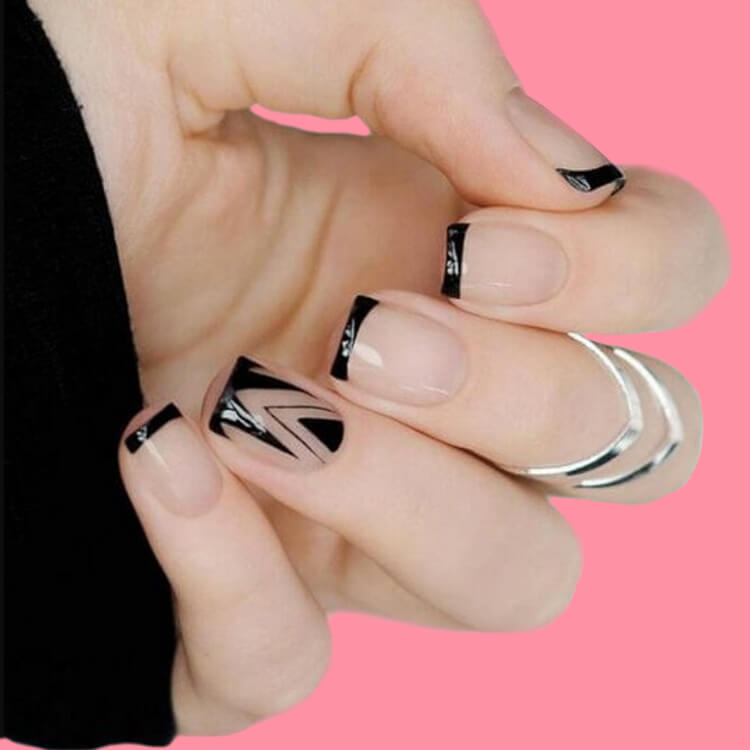 36+ Simple Strips Line Nail Art Designs to try 1