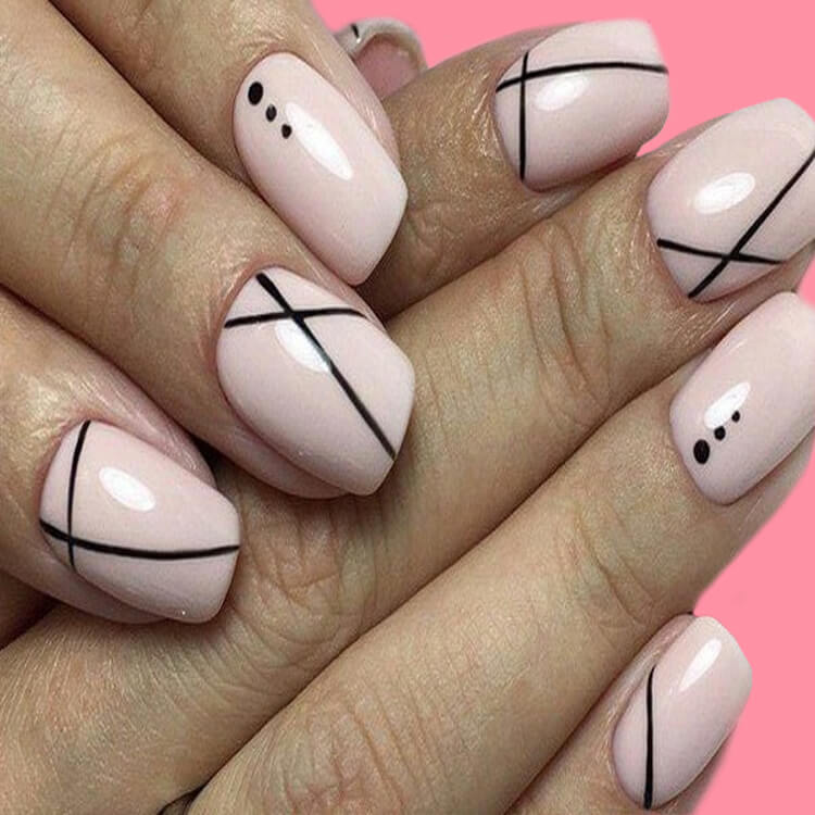 36+ Simple Strips Line Nail Art Designs to try 18