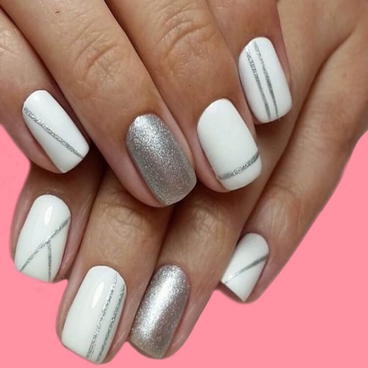 36+ Simple Strips Line Nail Art Designs to try 2