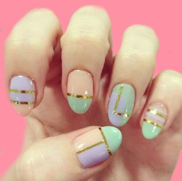 36+ Simple Strips Line Nail Art Designs to try 5