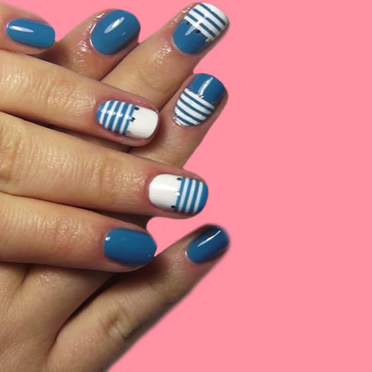 36+ Simple Strips Line Nail Art Designs to try 6