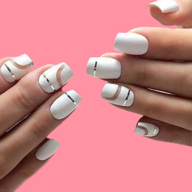 36+ Simple Strips Line Nail Art Designs to try 7