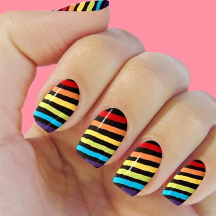 36+ Simple Strips Line Nail Art Designs to try 8