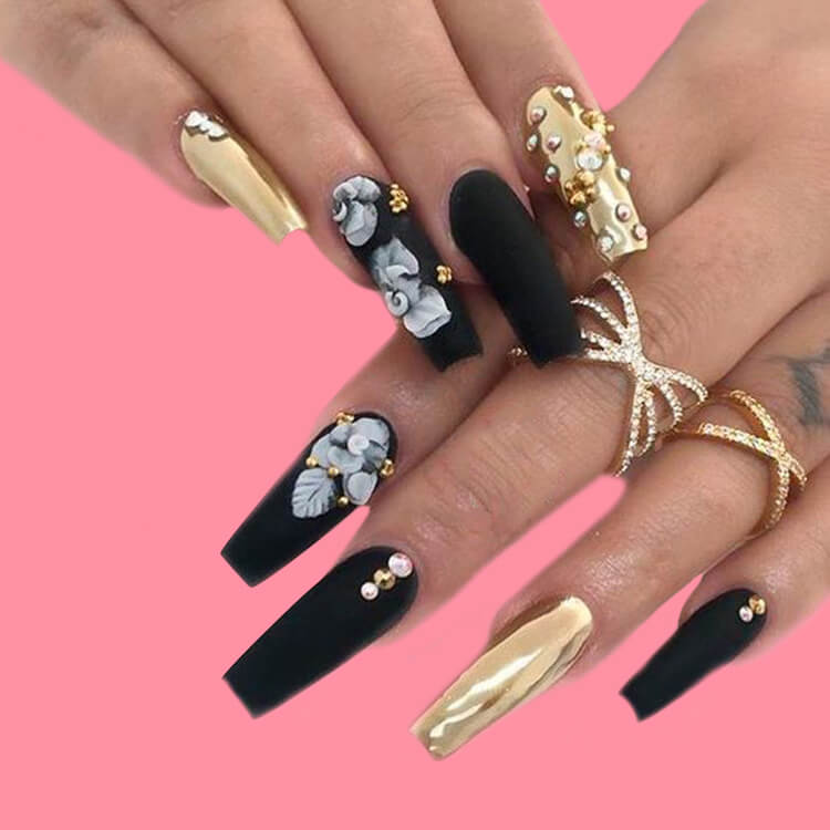 40 Cool Matte Black Coffin Nail Ideas to try 1