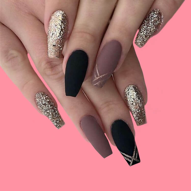 40 Cool Matte Black Coffin Nail Ideas to try 11