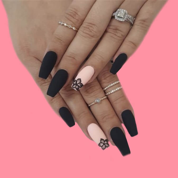 40 Cool Matte Black Coffin Nail Ideas to try 12